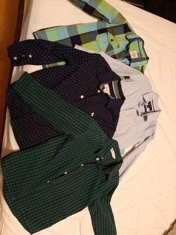 Koszula r 104 H&M RESERVED zestaw 4 szt biała/zielona/granatowa/kartka