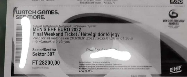 Bilhete para Euro de Andebol 2022
