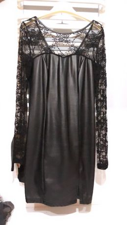 Czarna skórzana sukienka koronka