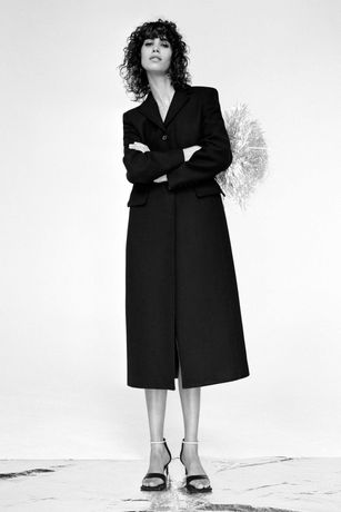 Zara nowy długi luksusowy  płaszcz wełniany XL 42 wełna