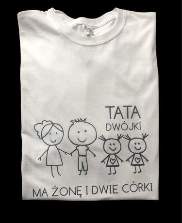 Koszulka z nadrukiem - Tata dwójki ma żonę i dwie córki