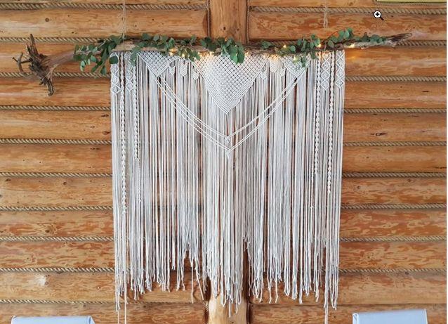 Makrama ślubna, tło do sesji, dekoracje domu boho