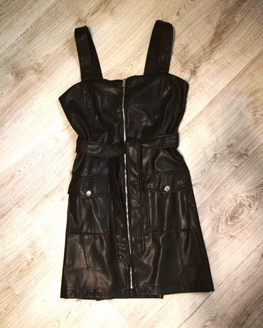 Платье кожа сарафан черное на новый год  Bershka