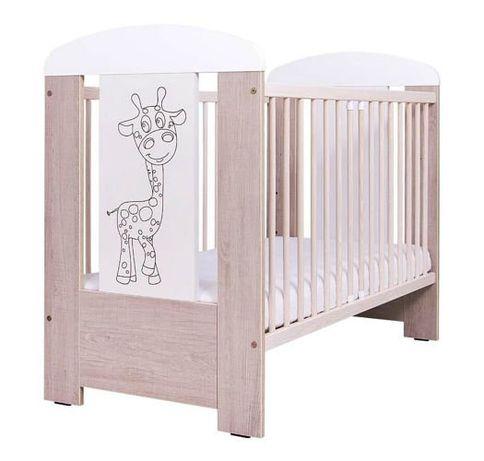 Łóżeczko niemowlęce DREWEX Santana dąb bielony ŻYRAFKA 120 x60 cm