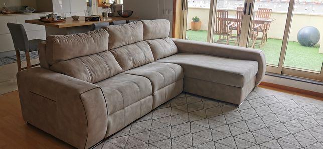 Luxo: Sofá 2 Relax eletrico + chaiselongue da Feira dos Sofás