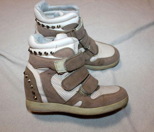 Keddo кроссовки кеды ботиник сникерсы 34 размер белые бежевые