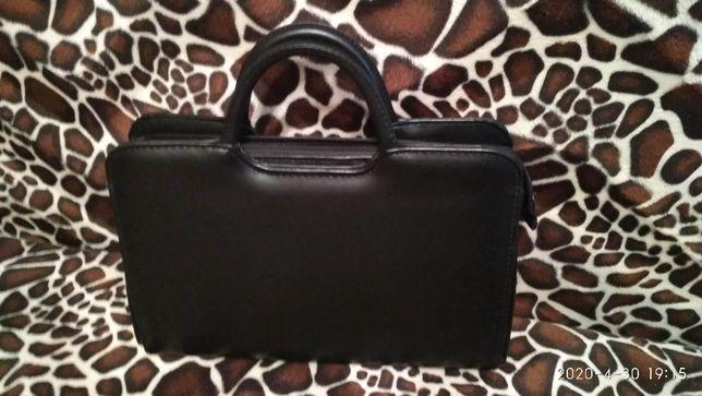Черная сумка, сумочка экокожа, с короткими ручками