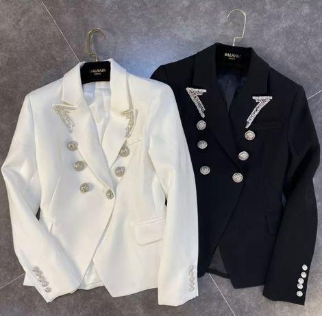 Пиджак черный Balmain камни серебро gucci пуговицы стразы chanel