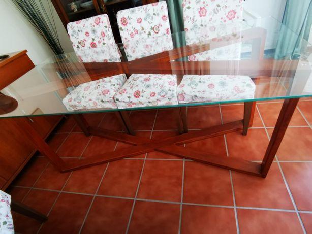 Mesa sala única  madeira e vidro 180x80cm