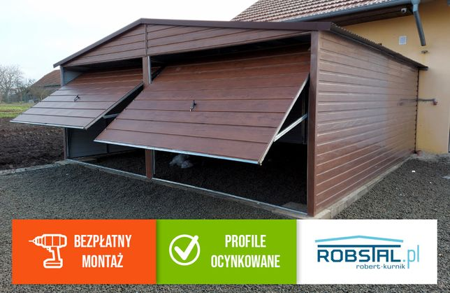 Garaż blaszany 6x5 drewnopodobny konstrukcja z profili garaże blaszaki