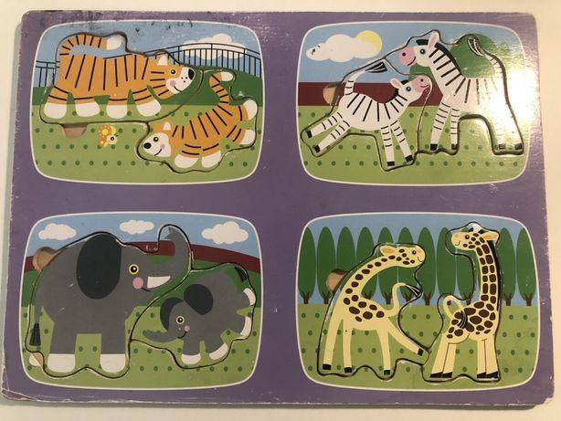 Puzzle drewniane zwierzęta i ich dzieci