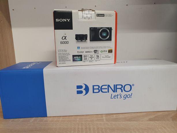 Aparat Sony Alpha ILCE-6000LB Wi-Fi 16-50 Karta 32GB Statyw Benro iT15