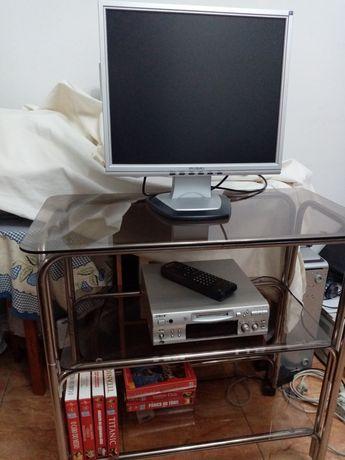 Mesa TV em vidro castanho