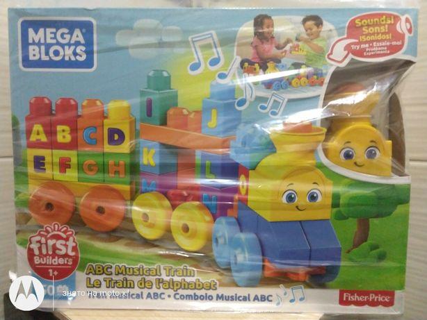 Музичний паровозик Mega blocks 50 дет Fisher price First builders