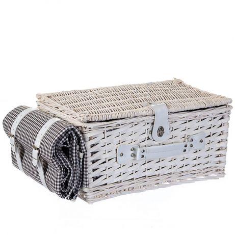 Корзина, набор для пикника из лозы на 4 персоны с ковриком