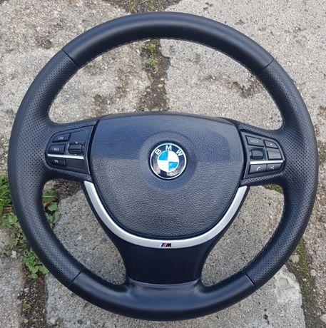Kierownica skórzana MULTIFUNKCJA BMW F10 F11 Nowe obszycie