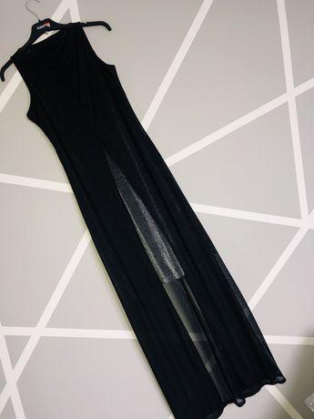Sukienka czarna długa lejący się materiał srebrna błyszcząca