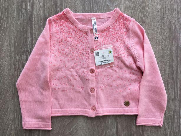 Sweter różowy z cekinami Coccodrillo 86cm