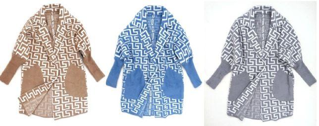 Narzutka płaszcz wełna ALPAKA zygzak jeans camel szara wzór cocomore