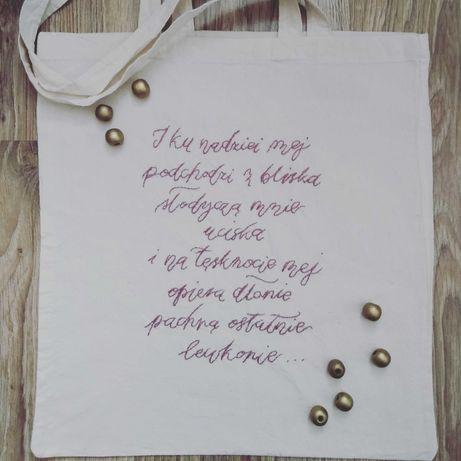 Haftowana torba wiersz Szymborska handmade