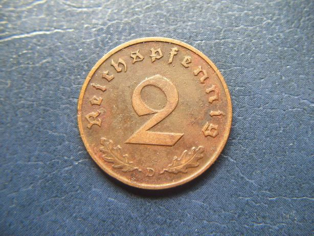Stare monety 2 reichsfenigi 1939 D Niemcy
