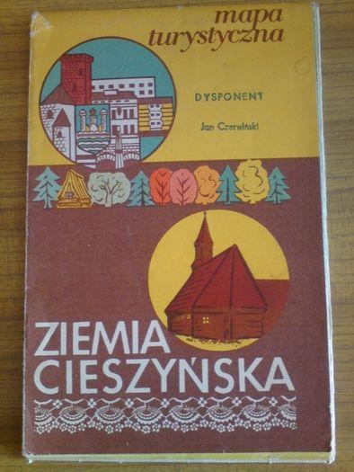 Stara mapa turystyczna Ziemia Cieszyńska 1977 PRL