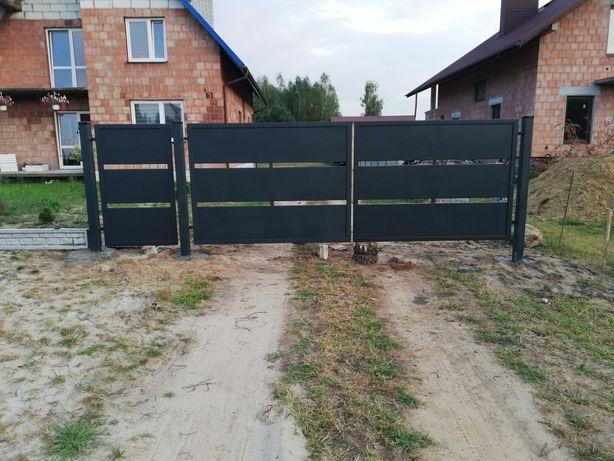 Brama dwuskrzydłowa z furtką