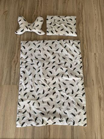 Komplet kołderka 120x 60 i poduszka 40x60, poduszka motylek Wafel