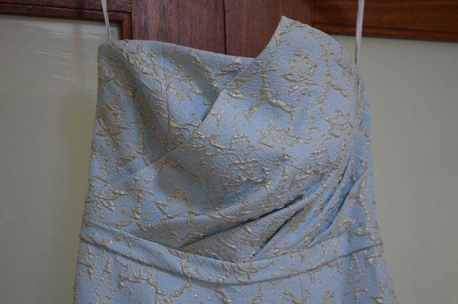 Vestido de cerimónia Azul com com pormenores dourados