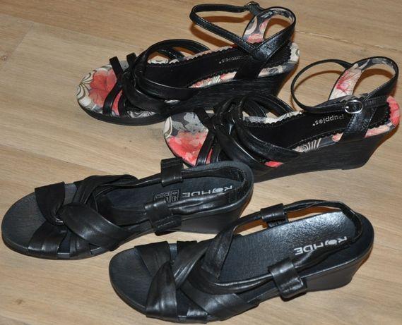 Hush Puppies, Rohde R.38 skórzane sandały, sandałki- koturn- idealne