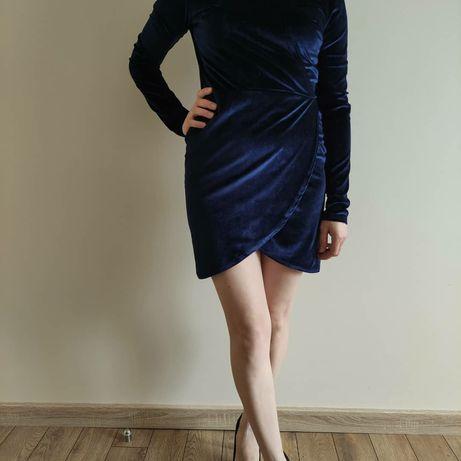 Плаття велюр синє