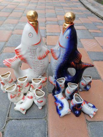 Рибка ссср скляна банка сулія бутль бутиль для вина  декантер графин