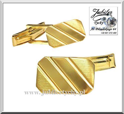 Złote spinki do mankietów koszuli klasyczne grawerowane złoto Au 585