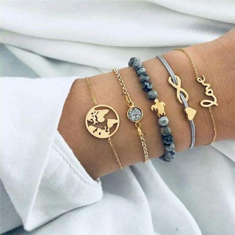Комплект браслетов 5 штук в стиле бохо черепаха карта мира любовь