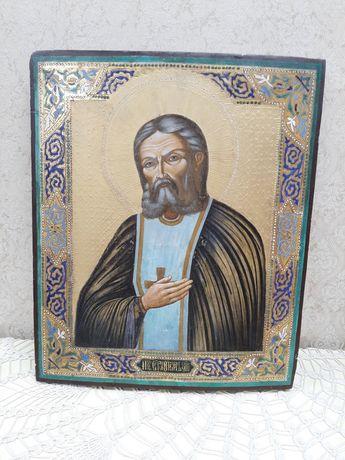 Старинная Икона Серафим Саровский 44х37 см