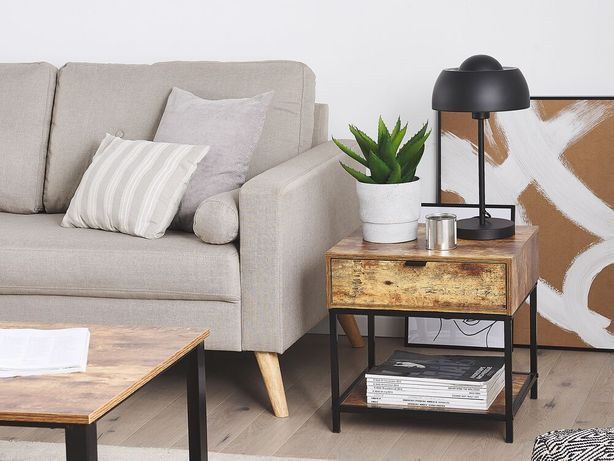 Mesa de apoio efeito madeira escura e preto BERKLEY - Beliani