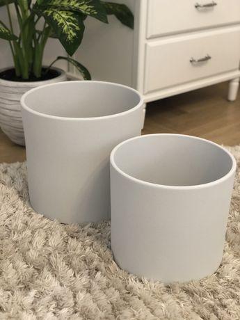 Doniczki donice oslonki ceramiczne westwing collection jasnoszare
