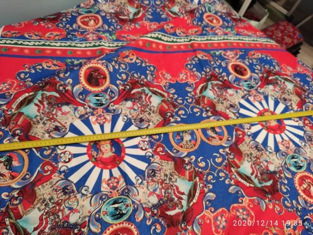 Tkanina materiał żakard kolorowy wzorzysty czerwony