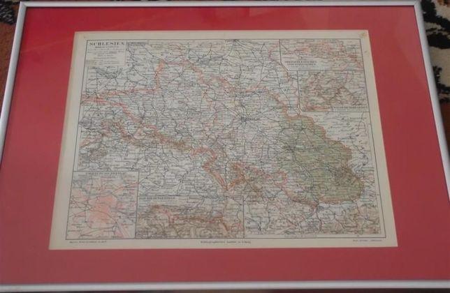ŚLĄSK, KRAKÓW, WROCŁAW oryginalne XIX w. mapy do wystroju wnętrz