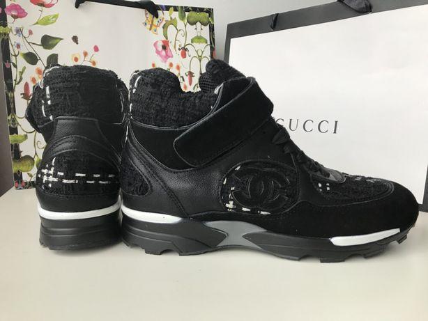 Chanel wysokie sneakersy czarne skóra naturalna tweed od reki 38