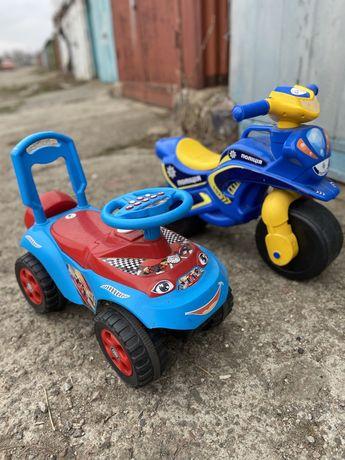 Машинка и мотоцикл толокар