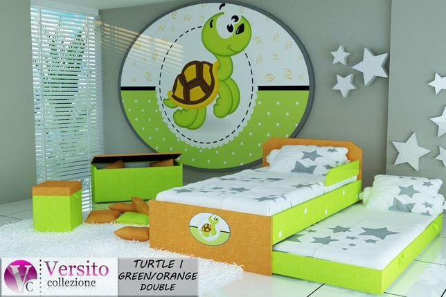 Łóżko dla dziecka z Żółwiem ,piętrowe-niskie,bezpieczne z 2 materacami