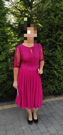 Piękna sukienka midi, koronka, dół plisowany