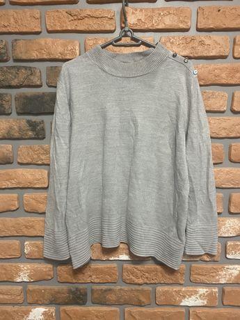 Marks&Spencer szary sweter z guzikami na ramionach prążki XL 42
