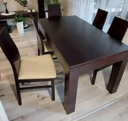 Stół rozkładany (140cm(300cm)x80cm) + 6 krzeseł Wenge