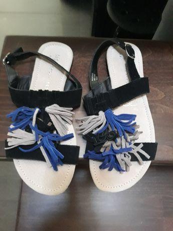 Sandałki  płaskie zamszowe czarno-niebieskie- beżowe,roz.38
