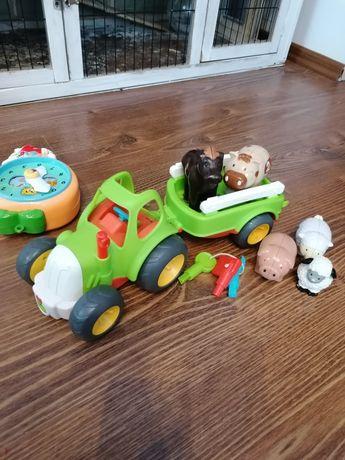 Zabawki traktor, zegar pozytywka