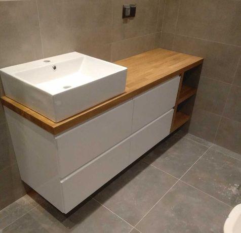 Szafka pod umywalkę z dębowym blatem - meble łazienkowe na wymiar