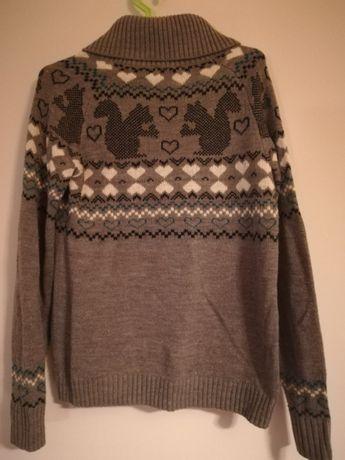 Piękny sweter wzorki szary rozmiar M (38) Terranova