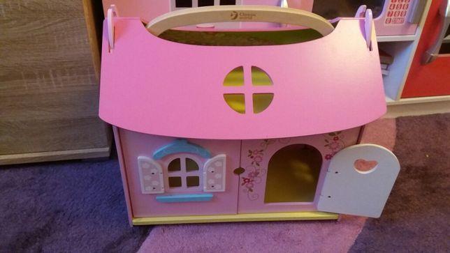 Domek drewniany dla lalek, domek dla barbi